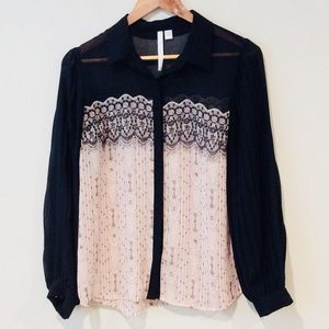 LC Lauren Conrad Sheer Blouse Top Size Small
